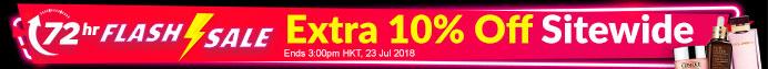 72 hr FLASH SALE! Extra 10% Off Sitewide Ends 3:00pm HKT, 23 Jul 2018 | Min. Spend US$65