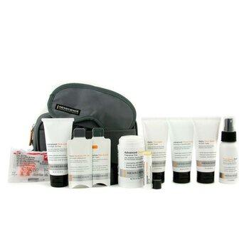 Menscience Travel Kit: Face Wash + Lotion + Shave Formula + Post-Shave Repair + Shampoo + Deodorant + Lip Protection + Eye Mask + Ear Plugs + Bag  9pcs+1bag