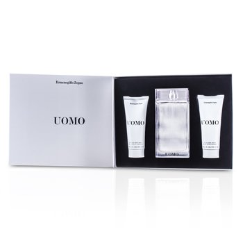 Ermenegildo Zegna Uomo Coffret: Eau De Toilette Spray 100ml/3.4oz + After Shave Balm 100ml/3.4oz + Hair & Body Wash 100ml/3.4oz  3pcs
