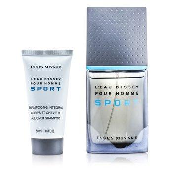 L'Eau d'Issey Pour Homme Sport Coffret: Edt Spray 50ml/1.6oz + All Over Shampoo 50ml/1.6oz + Bag  2pcs+Bag
