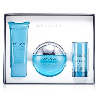 Aqva Pour Homme Marine Coffret: Eau De Toilette Spray 100ml/3.4oz + Deodorant Stick 75g/2.7oz + After Shave Emulsion 100ml/3.4oz  3pcs