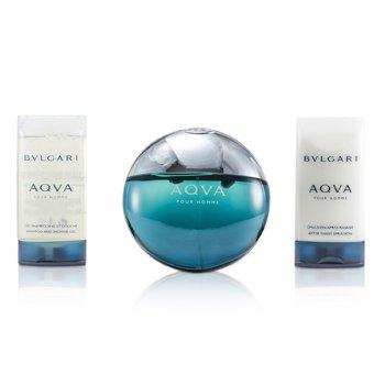 Aqva Pour Homme Coffret: Eau De Toilette Spray 100ml/3.4oz + Shampoo & Shower Gel 75ml/2.5oz + After Shave Emulsion 75ml/2.5oz  3pcs