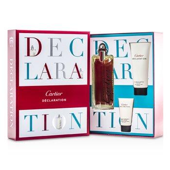 Cartier Declaration Coffret: Eau De Toilette Spray 100ml/3.3oz + All Over Shampoo 100ml/3.3oz + After Shave Emulsion 30ml/1oz  3pcs
