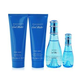 Davidoff Cool Water Coffret: Eau De Toilette Spray 50ml/1.7oz + Eau De Toilette Spray 15ml/0.5oz + Body Lotion 75ml/2.5oz + Shower Gel 75ml/2.5oz  4pcs
