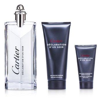 Declaration d'un Soir Coffret: Eau De Toilette Spray 100ml/3.3oz + Shower Gel 100ml/3.3oz + After Shave Emulsion 30ml/1oz  3pcs