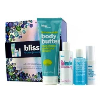 Bliss Crown Jewels Set: Body Butter 200ml + Love Handler 118ml + Triple Oxygen Instant Energizing Mask 15ml + Face Wash 60ml  4pcs