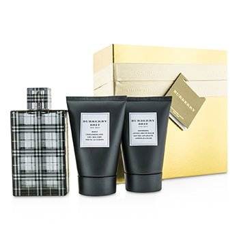 Burberry Brit Coffret: Eau De Toilette Spray 100ml/3.3oz + Body Cleansing Gel 100ml/3.3oz + After Shave Balm 100ml/3.3oz (Gold Box)  3pcs