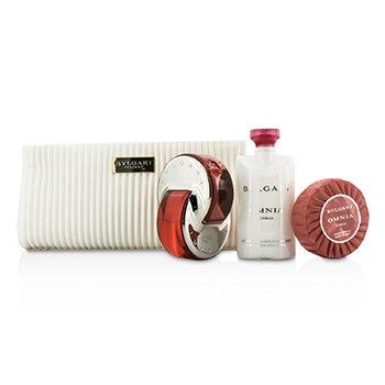Bvlgari Omnia Coral Coffret: Eau De Toilette Spray 65ml/2.2oz + Soap 75g/2.6oz + Body Lotion 75ml/2.5oz + Pouch  3pcs+pouch