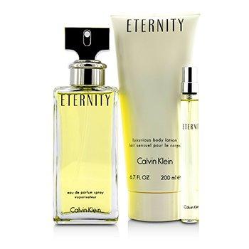 Eternity Coffret: Eau De Parfum Spray 100ml/3.4oz + Body Lotion 200ml/6.7oz + Eau De Parfum 10ml/0.33oz  3pcs