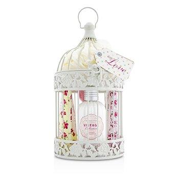 Heathcote & Ivory Vintage Enchanted Birdcage with Assorted Pampering Treats: 2x Hand Cream 100ml/3.38oz + Body Cream 250ml/8.45oz + 4x Heart Soap 18g + Puff  8pcs