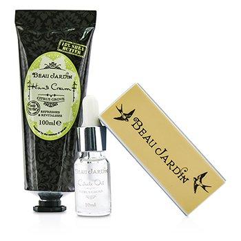 Beau Jardin Citrus Grove Manicure Coffret: Hand Cream 100ml/3.38oz + Cuticle Oil 10ml/0.33oz + Nail Buffer  3pcs