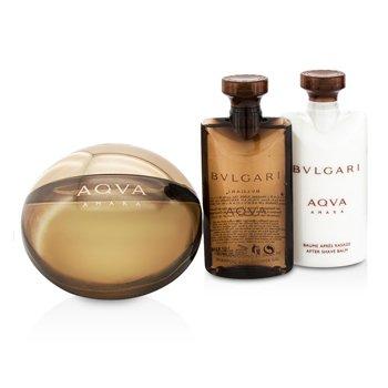 Aqva Amara Coffret: Eau De Toilette Spray 100ml/3.4oz + After Shave Balm 75ml/2.5oz + Shower Gel 75ml/2.5oz + Pouch  3pcs+1pouch
