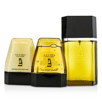 Azzaro Coffret: Eau De Toilette Spray 100ml/3.4oz + Hair & Body Shampoo 75ml/2.6oz + After Shave Balm 75ml/2.6oz  3pcs
