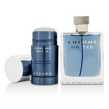 Chrome United Coffret: Eau De Toilette Spray 100ml/3.4oz + Deodorant Stick 75ml/2.1oz  2pcs