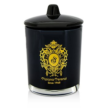 Glass Candle with Gold Decoration & Wooden Wick - Laudano Nero (Black Glass)  170g/6oz