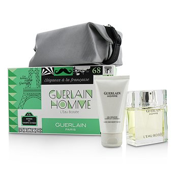 Homme L'Eau Boisee Coffert: Eau De Toilette Spray 80ml/2.7oz + Hair and Body Wash 75ml/2.5oz + pouch  3pcs+pouch