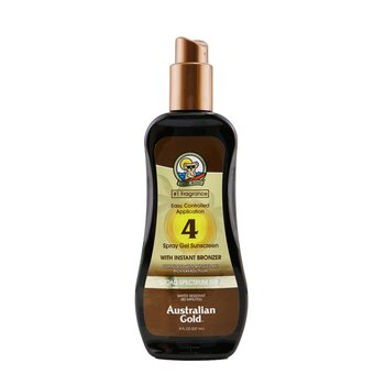 Australian Gold Spray Gel Sunscreen Broad Spectrum SPF 4 with Instant Bronzer  237ml/8oz