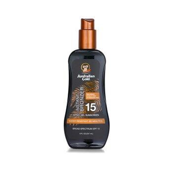 Australian Gold Spray Gel Sunscreen Broad Spectrum SPF 15 with Instant Bronzer  237ml/8oz