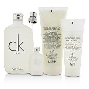 CK One Coffret: Eau De Toilette Spray 200ml/6.7oz + Body Wash 100ml/3.4oz + Skin Moisturizer 200ml/6.7oz + Eau De Toilette 15ml/0.5oz  4pcs