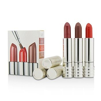 Clinique Long Last Lipstick Trio - #0A Runway Coral, #12 Blushing nude, #15 All Heart  3x4g/0.14oz