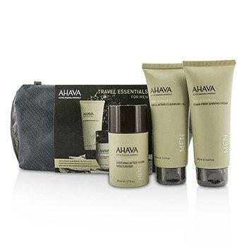 Ahava Travel Essentials For Men Set: Exfoliating Cleansing Gel 100ml + Shaving Cream 100ml + After-Shave Moisturizer 50ml  3pcs