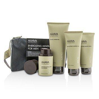 Ahava Energizing Minerals For Men Set: Exfoliating Cleansing Gel 100ml + After-Shave Moisturizer 50ml + Shaving Cream 100ml + Mineral Shower Gel 200ml  4pcs