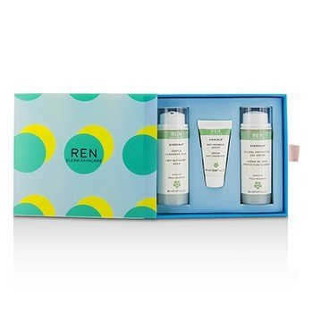 Ren Evercalm Sensitive Skin Kit: 1x Gentle Cleansing Milk 50ml, 1x Anti-Redness Serum 10ml, 1x Global Protection Day Cream 50ml  3pcs