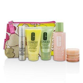 Clinique Travel Set: Facial Soap 30ml + Lotion 3 60ml + DDMG 30ml + Serum 10ml + All About Eyes 7ml + Bag  5pcs+1bag