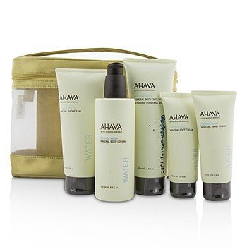 Ahava Deadsea Water Mineral Body Kit: Shower Gel + Body Exfoliator + Body Lotion + Hand Cream + Foot Cream + Gold Bag  5pcs+1bag