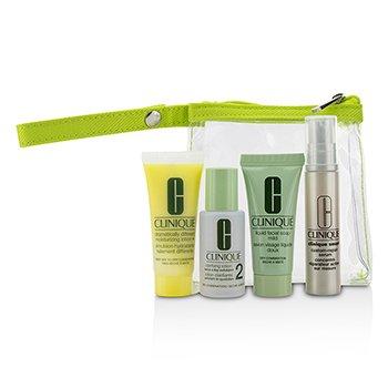 Clinique Travel Set: Liquid Facial Soap Mild + Clarifying Lotion 2 + DDML+ + Smart Custom-Repair Serum + Bag  4pcs+1bag