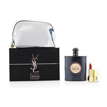 Yves Saint Laurent Black Opium Coffret: Eau De Parfum Spray 90ml/3oz + Mini Lipstick + Pouch  2pcs+pouch