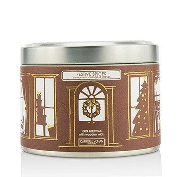 The Candle Company Tin Can 100% Beeswax Candle with Wooden Wick - Festive Spices (Cinnamon, Orange & Clove)  (8x5) cm