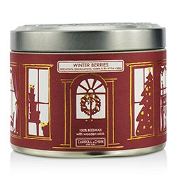 The Candle Company Tin Can 100% Beeswax Candle with Wooden Wick - Winter Berries (Redcurrants, Blackcurrants, Violets & Lily Of The Valley)  (8x5) cm