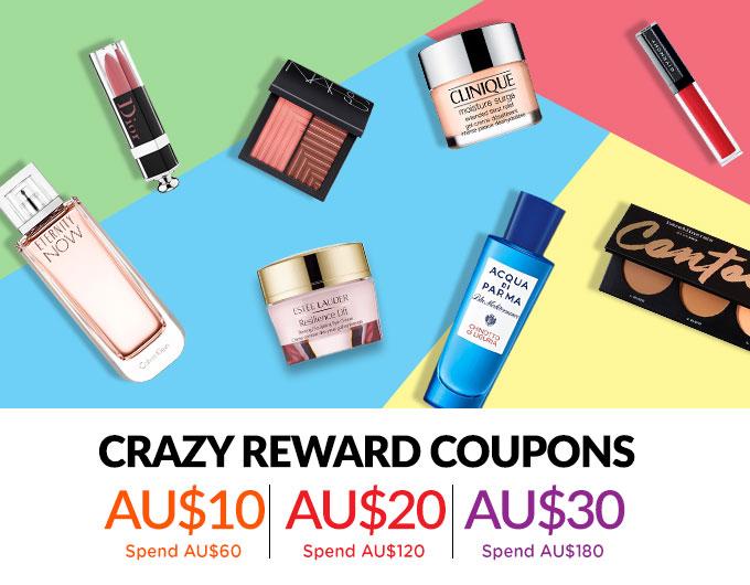 Bonus Shopping Rewards! Spend AU$60 & Get a AU$10 Coupon   Spend AU$120 & Get a AU$20 Coupon   Spend AU$180 & Get a AU$30 Coupon! Ends 23 Apr 2019