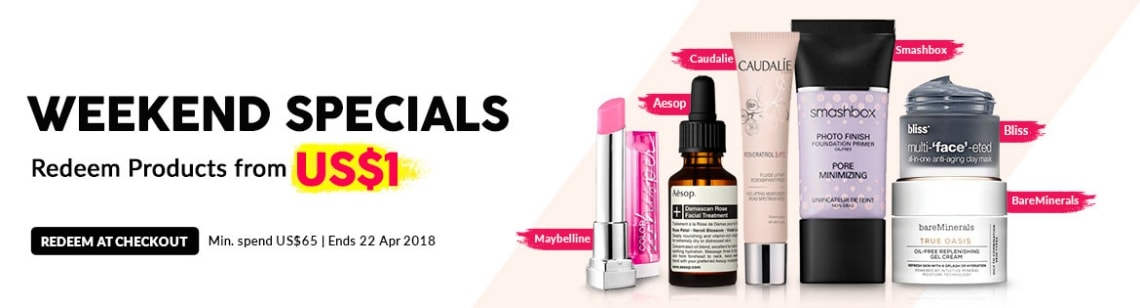 weekend special deal maybelline color whisper lipstick bliss clay mask bare minerals true oasis cream smashbox photo finish primer caudalie moisturizer aesop facial treatment