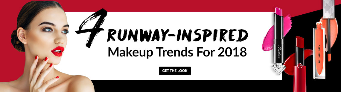 Runway makeup makeup trend 2018 bright lip negative space eyeliner hightligher glitter Guerlain Giorgio Armani Burberry