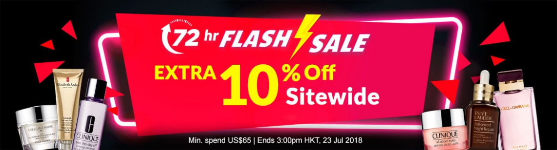 72 hr FLASH SALE! Extra 10% Off Sitewide Ends 3:00pm HKT, 23 Jul 2018 | Min. Spend US$65
