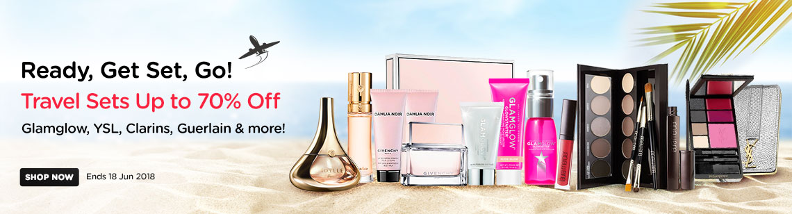 travel sets up to 70% off glamglow ysl clarins guerlain laura mercier givenchy perfume makeup skincare