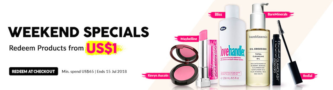 Beauty Specials Redemptions Lipstick Maybelline Weekend Deals US$1 kevyn aucoin gloss bliss bareminerals cleansing oil rodial mascara