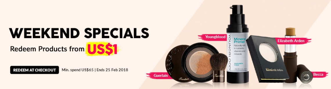 weekend specials US$1 becca stick foundation sue devitt concealer wen comb elizabeth arden eyeshadow swarovski necklace guerlain browzing powder youngblood mineral primer