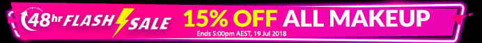 FLASH SALE: 15% Off All Makeup: 48 HRS ONLY! Ends 5:00pm AEST, 19 Jul 2018