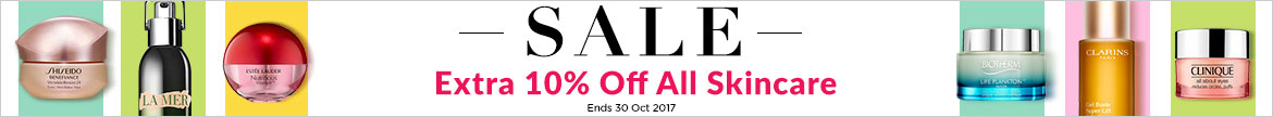 extra 10% off all skincare eyecream tonet serum night cream day cream shiseido yves saint laurent ysl lamer estee lauder biotherm clarins dermalogica clinique