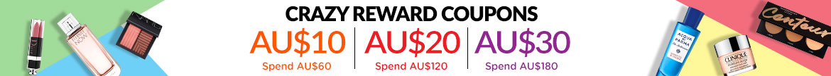 Bonus Shopping Rewards! Spend AU$60 & Get a AU$10 Coupon | Spend AU$120 & Get a AU$20 Coupon | Spend AU$180 & Get  a AU$30 Coupon! Ends 23 Apr 2019