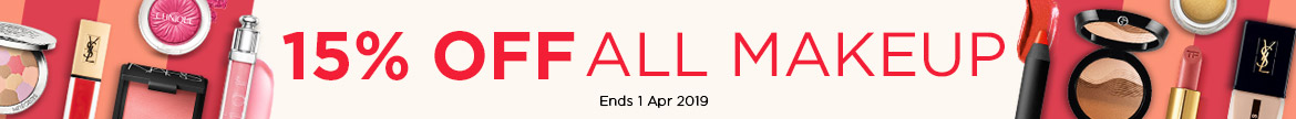 All Makeup Extra 15% Off! Ends 01 Apr 2019