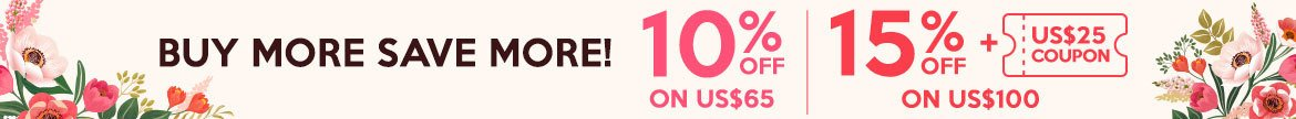 Beauty Stockpiling Sale: Buy More Save More 10% Off on US$65, 15% Off + US$25 Coupon on US$100!