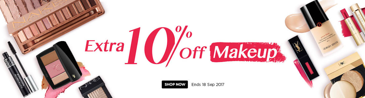 Extra 10% Off Makeup! Ends 18 Sept 2017
