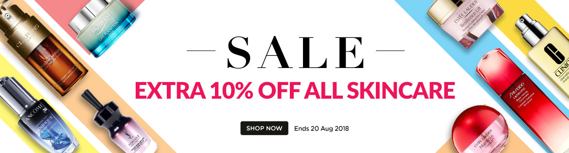 Extra 10% Off Skincare *Min spend US$65 | Ends 20 Aug 2018