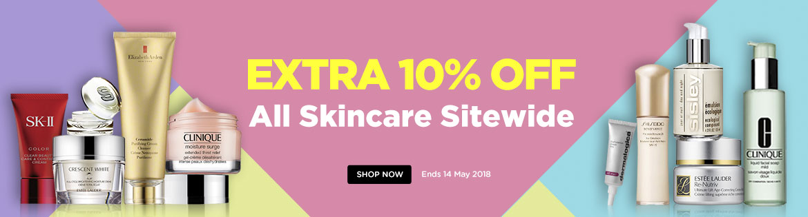Extra 10% Off All Skincare! Ends 14 May 2018