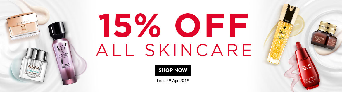 15% Off ALL SKINCARE! Ends 29 Apr 2019