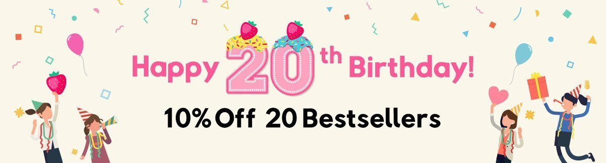 Happy 20th Birthday! 10% Off 20 Bestsellers